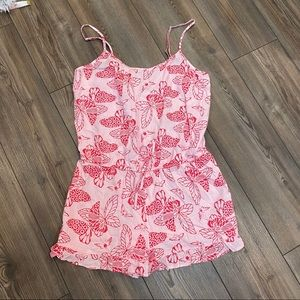 Aerie Red and White Butterfly Print Romper Small